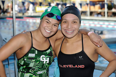 (l-r) Granada Hills Bianca Valencia and Clevelands Valerie Orellana seen at the LA City Section CIF, All City Swimming Championships. The event was held at the AAF/John C. Argue Swim Stadium in Los Angeles, CA 5-17-2011. (John McCoy/staff photographer)