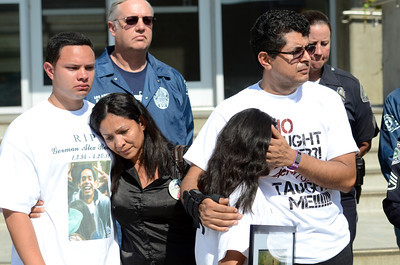 Juan Jose Romero, mother Maria Romero, sister Alani Romero and father German Romero during a press conference by LAPD to announce the arrests of Dominique Rush and her father Steven Rush in the death of their brother and son German Alex Romero, a 17-year-old who was struck by a car and killed on April 20, 2011 in a hit and run. Dominique is suspected of driving the car that struck Romero and her father Steven of helping in an attempt to cover up the crime. (Hans Gutknecht/Staff Photographer)