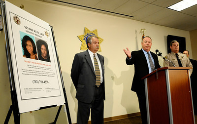 (R-L) Los Angeles County Sheriff Capt. Bill McSweeney,  homicide detective Dave Smith and Kevin McClure talks at a press conference along with Las Vegas PD  to discuss the local aspect of an ongoing investigation into the disappearance of a California woman. The missing woman, Matrice Richardson, was last seen in Malibu California on September 17 , 2009 following her release th from custody by L.A.P.D.. She had been arrested a few hours earlier on a minor misdemeanor charge. Since then there have been several possible sightings of Richardson in Southern Nevada. Las Vegas NV. July 29,2010 Photo by Gene Blevins/LA Daily News