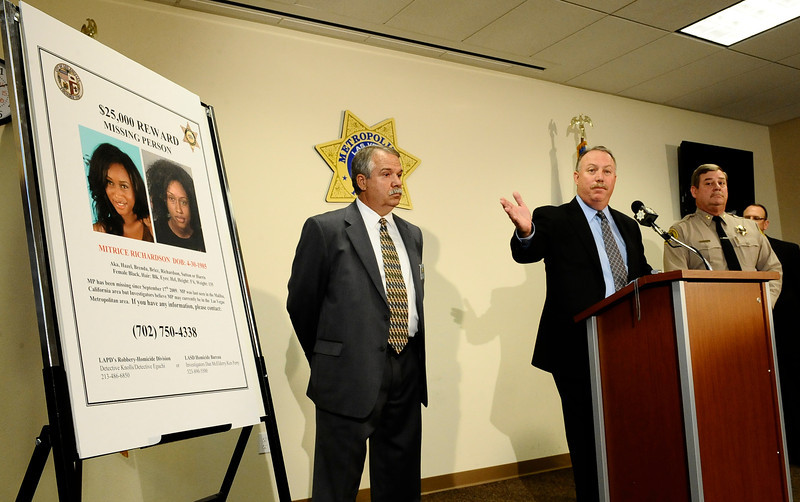 . In this July 29, 2010 file photo, (R-L) Los Angeles County Sheriff Capt. Bill McSweeney,  homicide detective Dave Smith and Kevin McClure talks at a press conference along with Las Vegas PD  to discuss the ongoing investigation into the disappearance of a California woman. Mitrice Richardson was last seen in Malibu California on September 17 , 2009. Almost a year after opening a criminal investigation into the way the Los Angeles County Sheriff�s Department handled the 2009 disappearance of Richardson, the California Attorney General�s Office concluded there was no evidence to prosecute the deputies for their actions. ( Photo by Gene Blevins/LA Daily News)