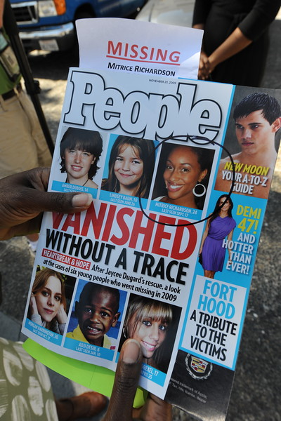 . File - A copy of People Magazine containing a story about missing Los Angeles girl Mitrice Richardson after her family filed a claim as a prelude to a possible lawsuit against Los Angeles County in Los Angeles on March 16, 2010.  (MARK RALSTON/AFP/Getty Images)