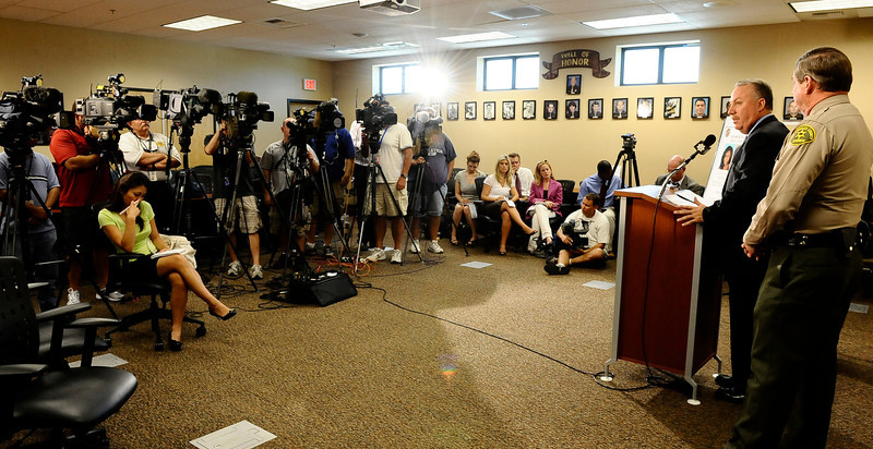 . In this July 29, 2010 file photo,  (R) Los Angeles County Sheriff homicide detective Kevin McClure speaks at a press conference along with Las Vegas PD  to discuss the ongoing investigation into the disappearance of a California woman. Matrice Richardson was last seen in Malibu California on September 17 , 2009. Almost a year after opening a criminal investigation into the way the Los Angeles County Sheriff�s Department handled the 2009 disappearance of Richardson, the California Attorney General�s Office concluded there was no evidence to prosecute the deputies for their actions. ( Photo by Gene Blevins/LA Daily News)