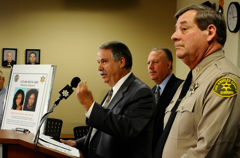 . In this July 29, 2010 file photo, (R-L) Los Angeles County Sheriff Capt. Bill McSweeney,  homicide detective Dave Smith and Kevin McClure talks at a press conference along with Las Vegas PD  to discuss the ongoing investigation into the disappearance of a California woman. Matrice Richardson was last seen in Malibu California on September 17 , 2009. Almost a year after opening a criminal investigation into the way the Los Angeles County Sheriff�s Department handled the 2009 disappearance of Richardson, the California Attorney General�s Office concluded there was no evidence to prosecute the deputies for their actions. ( Photo by Gene Blevins/LA Daily News)