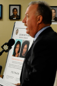 Los Angeles County Sheriff homicide detective Kevin McClure talks at a press conference along with Las Vegas PD  to discuss the local aspect of an ongoing investigation into the disappearance of a California woman. The missing woman, Matrice Richardson, was last seen in Malibu California on September 17 , 2009 following her release th from custody by L.A.P.D.. She had been arrested a few hours earlier on a minor misdemeanor charge. Since then there have been several possible sightings of Richardson in Southern Nevada. Las Vegas NV. July 29,2010. Photo by Gene Blevins/LA Daily News