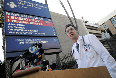 Dr Steven Jones, Medical Direcgtor of Emergency Services at Northridge Hospital, talks about the progress of a LAUSD Police officer Jeffrey Stenroos who was shot at El Camino Real High School. Northridge, CA 1-19-2011.