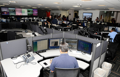 A inside look at the LAX Response Coordination Center, during a press conference at Los Angeles International Airport  about how air travel has changed since the terrorist attacks of Sept 11,2001, and provide an overview of the numerous security measures implemented at LAX during the past 10 years.Sept 7,2011 photo by Gene Blevins/LA DAILYNEWS