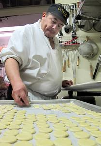 La Frite Cafe on Ventura Blvd. in Sherman Oaks Ca.  Kitchen chef prepares pastry.  (Dean Musgrove/Staff Photographer)
