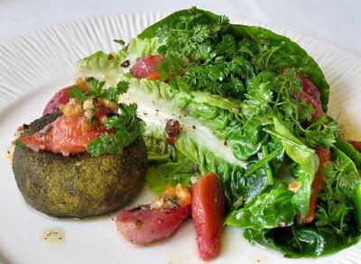 La Frite Cafe on Ventura Blvd. in Sherman Oaks Ca.  Salade Maraichere au Chevre Chaud.  Baby beats, fried goat cheese cake, hazelnut vinaigrette.  (Dean Musgrove/Staff Photographer)