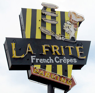 La Frite Cafe on Ventura Blvd. in Sherman Oaks Ca.  Restaurant sign. (Dean Musgrove/Staff Photographer)