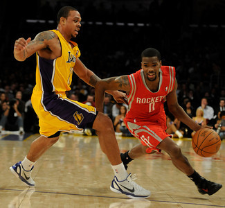 Shannon Brown guards Aaron Brooks. The Lakers defeated the Houston Rockets 114 to 106 in a game played at Staples Center in Los Angeles, CA. 2-1-2011. (John McCoy/staff photographer)