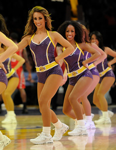 The Lakers cheered the home team to victory over the Houston Rockets 114 to 106 in overtime at Staples Center in Los Angeles, CA. 2-1-2011. (John McCoy/staff photographer)