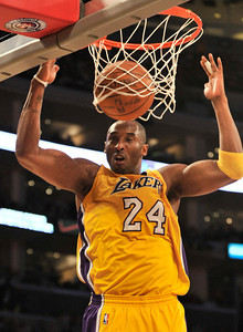 Laker Kobe Bryant dunks in the first half. The Lakers hosted the Utah Jazz in a game played at Staples Center in Los Angeles ,CA 1-25-2011. (John McCoy/staff photographer)