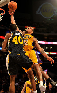 Jazz Jeremy Evans fouls Shannon Brown in the 4th quarter. The Lakers defeated the Utah Jazz 120 to 91 in a game played at Staples Center in Los Angeles ,CA 1-25-2011. (John McCoy/staff photographer)