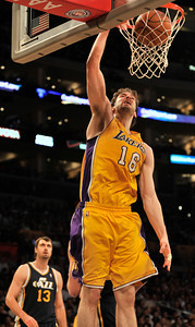 Lakers #16 Pau Gasol dunks the ball in the first half. The Lakers hosted the Utah Jazz in a game played at Staples Center in Los Angeles ,CA 1-25-2011. (John McCoy/staff photographer)