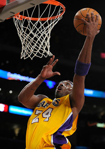 Los Angeles Lakers shooting guard Kobe Bryant (24) drives in for a fast break layup in the first quarter. The Lakers played host to the Minnesota Timberwolves in a game played at the Staples Center in Los Angeles, CA 2/29/2012(John McCoy/Staff Photographer)