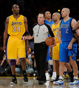 Kobe Bryant protests a call that allowed Jason Kidd 3 foul shots. The Lakers played host to the Dallas Mavericks in game 2 of the playoffs. Los Angeles, CA 5-4-2011. (John McCoy/staff photographer)