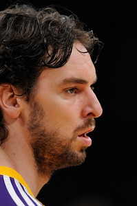 Pau Gasol during warmups before the game. The Lakers  were defeated 93-81 by the Dallas Mavericks in game 2 of the playoffs. Los Angeles, CA 5-4-2011. (John McCoy/staff photographer)