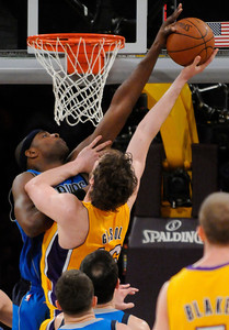 Brendan Haywood blocks a shot by Pau Gasol in the 4th quarter. The Lakers  were defeated 93-81 by the Dallas Mavericks in game 2 of the playoffs. Los Angeles, CA 5-4-2011. (John McCoy/staff photographer)
