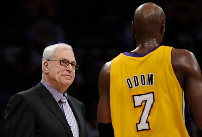 Phil Jackson looks upset with Lamar Odom in the first half. The Lakers played host to the Dallas Mavericks in game 2 of the playoffs. Los Angeles, CA 5-4-2011. (John McCoy/staff photographer)
