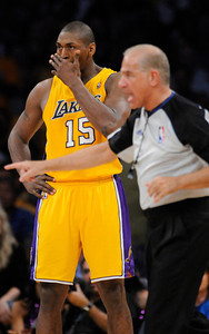 Ron Artest has his problems with the officials. The Lakers  were defeated 93-81 by the Dallas Mavericks in game 2 of the playoffs. Los Angeles, CA 5-4-2011. (John McCoy/staff photographer)