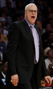 Phil Jackson shouts at his players in the first half. The Lakers played host to the Dallas Mavericks in game 2 of the playoffs. Los Angeles, CA 5-4-2011. (John McCoy/staff photographer)