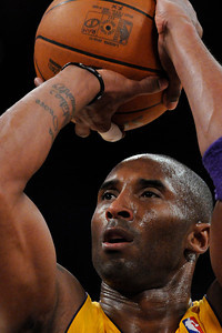 Kobe Bryant has worked up a sweat in the first half while taking foul shots. The Lakers played host to the Dallas Mavericks in game 2 of the playoffs. Los Angeles, CA 5-4-2011. (John McCoy/staff photographer)