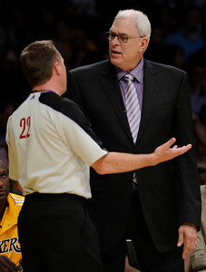 Phil Jackson has words with the officials in the first half. The Lakers played host to the Dallas Mavericks in game 2 of the playoffs. Los Angeles, CA 5-4-2011. (John McCoy/staff photographer)