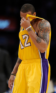 Shannon Brown leaves the game dejected in the final moments. The Lakers  were defeated 93-81 by the Dallas Mavericks in game 2 of the playoffs. Los Angeles, CA 5-4-2011. (John McCoy/staff photographer)