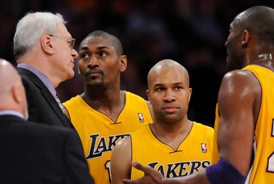 The Lakers during a time out in the first half. The Lakers  were defeated 93-81 by the Dallas Mavericks in game 2 of the playoffs. Los Angeles, CA 5-4-2011. (John McCoy/staff photographer)