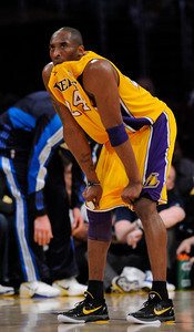 Kobe Bryant chews on his jersey. The Lakers played host to the Dallas Mavericks in game 2 of the playoffs. Los Angeles, CA 5-4-2011. (John McCoy/staff photographer)