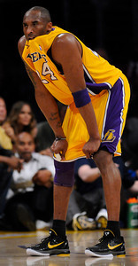 Kobe Bryant chews on his jersey in the first half. The Lakers played host to the Dallas Mavericks in game 2 of the playoffs. Los Angeles, CA 5-4-2011. (John McCoy/staff photographer)