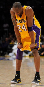 Kobe Bryant is dejected in the final moments. The Lakers  were defeated 93-81 by the Dallas Mavericks in game 2 of the playoffs. Los Angeles, CA 5-4-2011. (John McCoy/staff photographer)