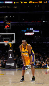 Down by 11 points in the final 2 minutes, Kobe Bryant looks at the clock tick away. The Lakers  were defeated 93-81 by the Dallas Mavericks in game 2 of the playoffs. Los Angeles, CA 5-4-2011. (John McCoy/staff photographer)
