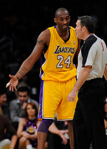 Kobe Bryant protests a call in the first half. The Lakers played host to the Dallas Mavericks in game 2 of the playoffs. Los Angeles, CA 5-4-2011. (John McCoy/staff photographer)