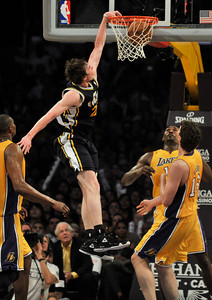 Jazz #20 Gordon Hayward throws down a dunk in the final minutes. The Lakers lost to the Utah Jazz 86-85 in a game played at Staples Center in Los Angeles, CA 4-5-2011. (John McCoy/staff photographer)
