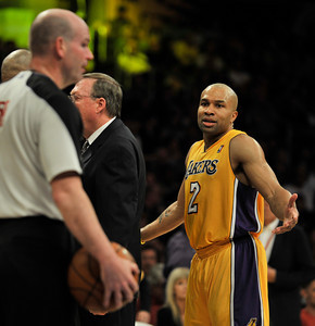 Derek Fisher protests a call in the 4th quarter. The Lakers lost to the Utah Jazz 86-85 in a game played at Staples Center in Los Angeles, CA 4-5-2011. (John McCoy/staff photographer)