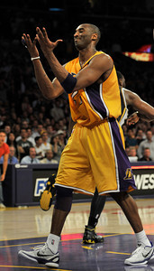 Kobe Bryant let the game slip through his fingers in the final second when he lost the ball to Jazz #25 Al Jefferson. The Lakers lost to the Utah Jazz 86-85 in a game played at Staples Center in Los Angeles, CA 4-5-2011. (John McCoy/staff photographer)
