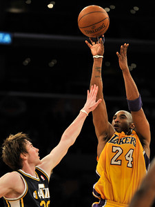 Kobe Bryant shoots over Gordon Hayward. The Lakers lost to the Utah Jazz 86-85 in a game played at Staples Center in Los Angeles, CA 4-5-2011. (John McCoy/staff photographer)