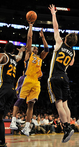 Lakers Kobe Bryant. The Lakers played host to the Utah Jazz in a game played at Staples Center in Los Angeles, CA 4-5-2011. (John McCoy/staff photographer)