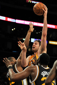 Pau Gasol shoots over Jazz defenders. The Lakers lost to the Utah Jazz 86-85 in a game played at Staples Center in Los Angeles, CA 4-5-2011. (John McCoy/staff photographer)