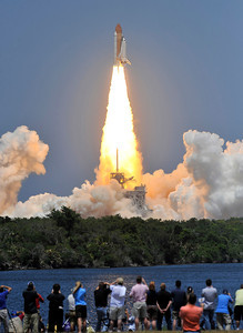 Bittersweet blastoff sends Atlantis back into space  what's potentially its final voyage before retirement after 25 years of spaceflight, shuttle Atlantis unleashed seven million pounds of Earth-shaking thrust when countdown clocks struck zero at 2:20 p.m. EDT today and rocketed toward Sunday's intercept with the International Space Station. The 12-day flight with an all-veteran crew will install a new Russian mini module and perform spacewalks to tackle outdoor improvements around the complex. Kennedy Space Center FL.  May 14, 2010 Photos by Gene Blevins/LA Daily News