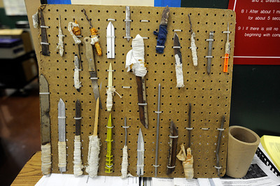 Makeshift weapons confiscated at the Los Angeles County Sheriff's Department Men's Central Jail Wednesday, December 7, 2011. (Hans Gutknecht/Staff Photographer)