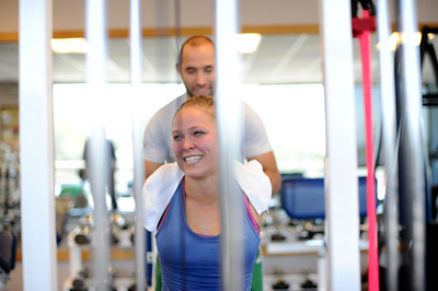 Ronda Rousey conditions at Results Studio with trainer Chris Frincu in Studio City, CA. (Hans Gutknecht/Staff Photographer)