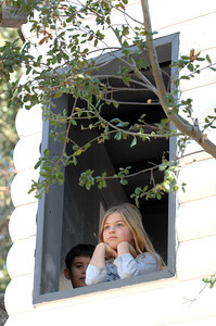Students play in the treehouse on the school campus. Suzy Amis Cameron and Zev Yaroslavsky, LA County Supervisor,  cut the ribbon on the brand new MUSE School in Calabasas Highlands, Monday, November 11, 2011.   (Dean Musgrove/Staff Photographer)