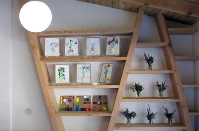 """Second grade art work called """"Bouquets"""", inspired by Picasso is on display. Suzy Amis Cameron and Zev Yaroslavsky, LA County Supervisor,  cut the ribbon on the brand new MUSE School in Calabasas Highlands, Monday, November 11, 2011.   (Dean Musgrove/Staff Photographer)"""