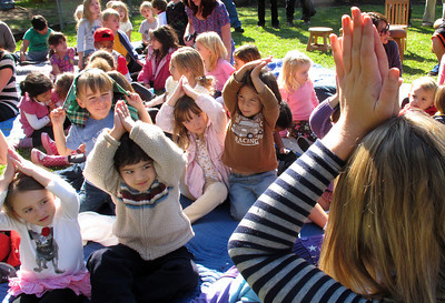 Monica Inchausti, preschool director, leads stunents in a movement song. Suzy Amis Cameron and Zev Yaroslavsky, LA County Supervisor,  cut the ribbon on the brand new MUSE School in Calabasas Highlands, Monday, November 11, 2011.   (Dean Musgrove/Staff Photographer)