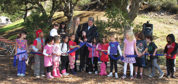 Suzy Amis Cameron and Zev Yaroslavsky, LA County Supervisor,  cut the ribbon on the brand new MUSE School in Calabasas Highlands, Monday, November 11, 2011.   (Dean Musgrove/Staff Photographer)