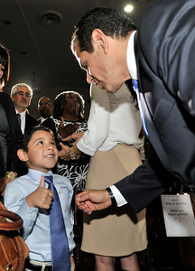 Thumbs up from grandson Andres Antonio Silva. Mayor Antonio Villaraigosa after his State of the City Address at Thomas Jefferson High School in Los Angeles, CA 4-13-2011. (John McCoy/staff photographer)