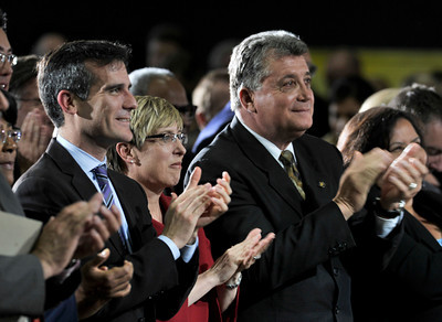 (l-r) Eric Garcetti, Wendy Gruel and Carmen Trutanich applaud the mayor after his State of the City Address at Thomas Jefferson High School in Los Angeles, CA 4-13-2011. (John McCoy/staff photographer)