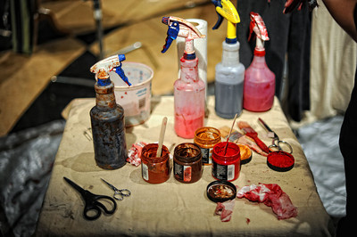 Products used to create costumes during a media preview for  Universal Studios' ÒHalloween Horror NightsÓ at  the Globe Theatre venue at Universal Studios Hollywood Wednesday, September 7, 2011. (Hans Gutknecht/Staff Photographer)